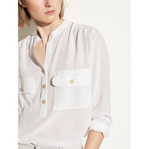 Vince Silk Utility Blouse in Optic White